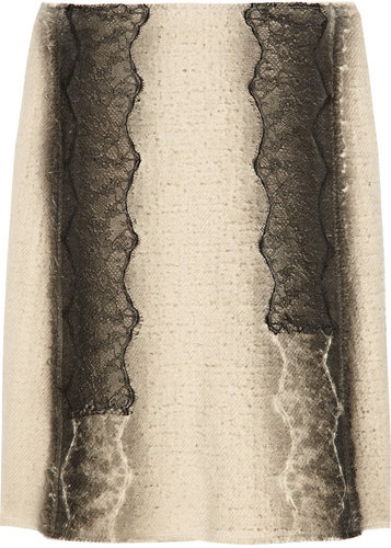 Bottega Veneta Lace-trimmed wool-blend skirt