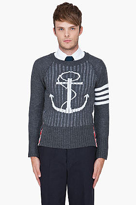 THOM BROWNE Charcoal Wool Zip Back Sweater