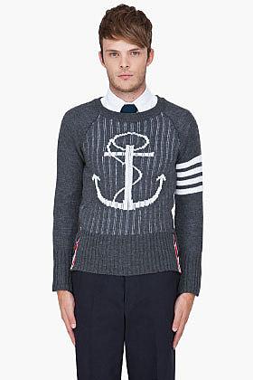 THOM BROWNE Charcoal Wool Zip Back Sweater