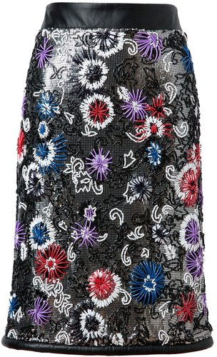 Christopher Kane Embroidered chainmail pencil skirt