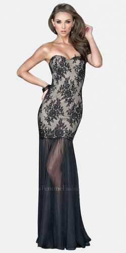Black Nude Lace Evening Gowns by La Femme