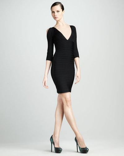 Herve Leger Slit-Sleeve Bandage Dress, Black