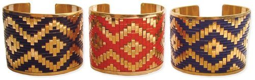 Z Designs Gold metal cuff with woven Ikat design