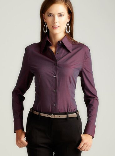 Dolce & Gabbana Plum Button Down Cotton Shirt