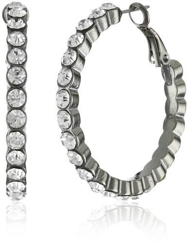"ABS By Allen Schwartz ""Jet Liner"" Hematite-Tone Hoop Earrings"