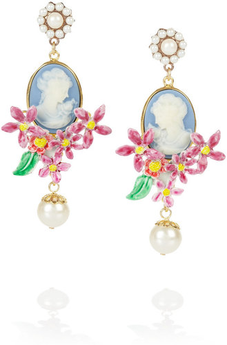 Dolce & Gabbana Gold-plated glass pearl cameo clip earrings