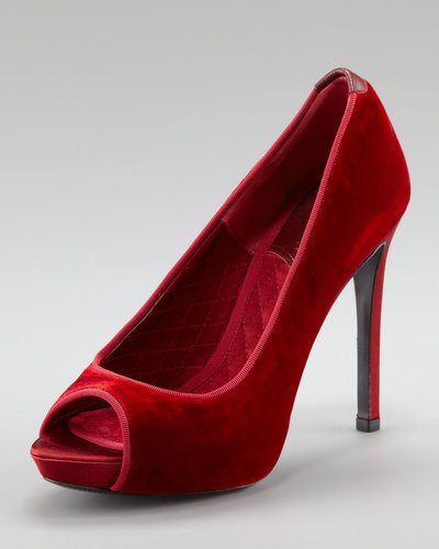 Tom Ford Velvet Open-Toe Pump, Red