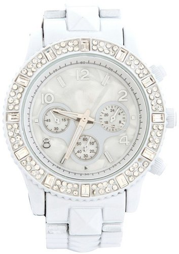 White Rhinestone Metal Watch