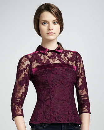 Nanette Lepore Flaming Love Lace Top, Mulberry
