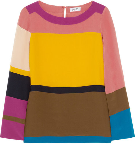 Sonia by Sonia Rykiel Color-block silk top