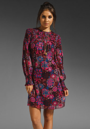 Anna Sui Winter Blossom Metallic Print Dress