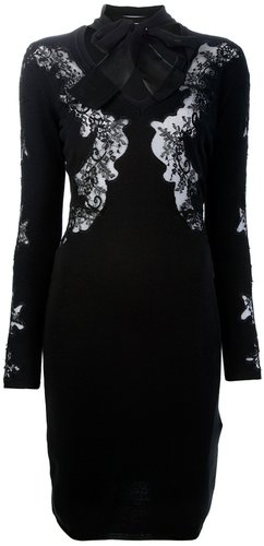 Valentino fitted lace detail dress