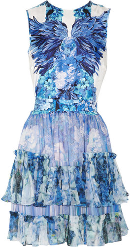 Roberto Cavalli Floral-print silk-satin and silk-chiffon dress