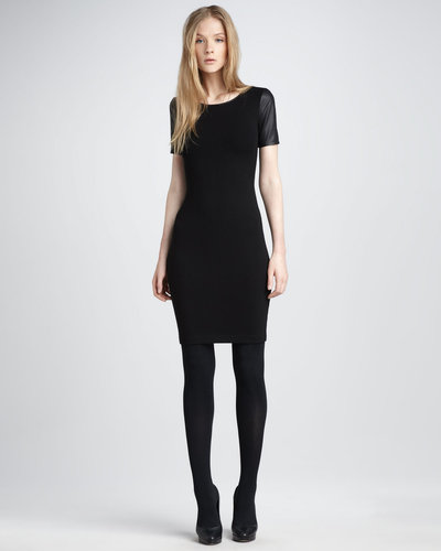 Theory Leather-Sleeve Dress