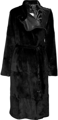 Maison Martin Margiela Belted rabbit coat