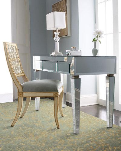 Mirrored Desk & Pillar Chair