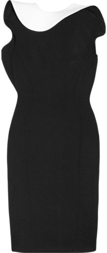 Lanvin Contrast-ruffle scuba-jersey dress