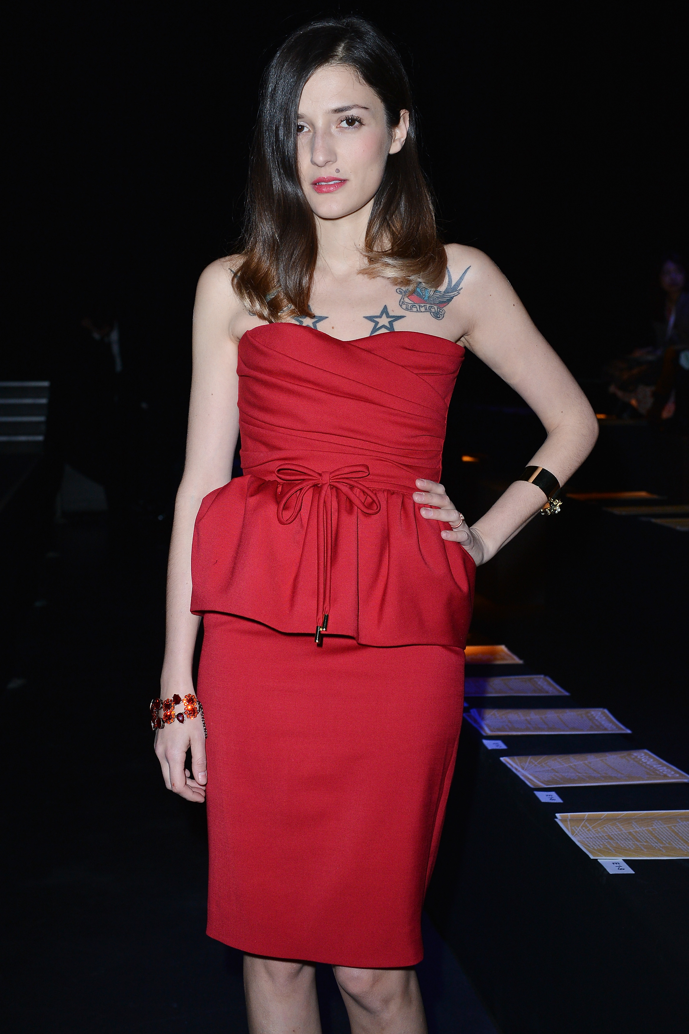 Eleonora Carisi at the DSquared2 Fall 2013 show in Milan.
