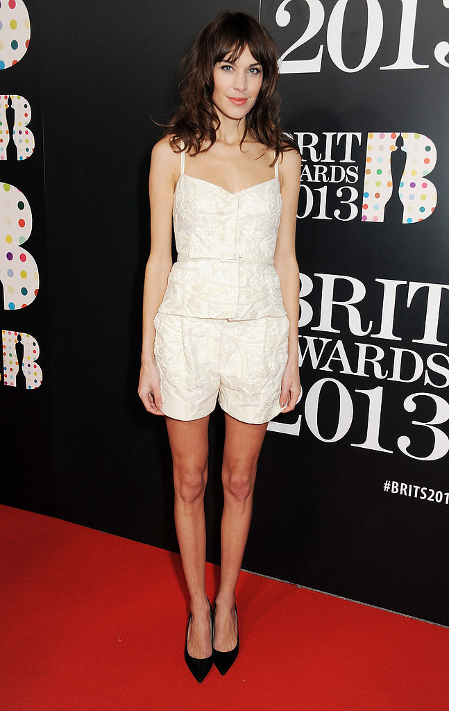 Alexa Chung wore Valentino at the Brit Awards in London.