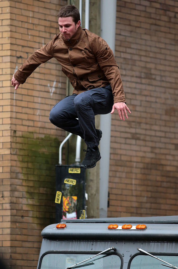 Stephen Amell did his own stunts on the set of Arrow in Vancouver on Wednesday.