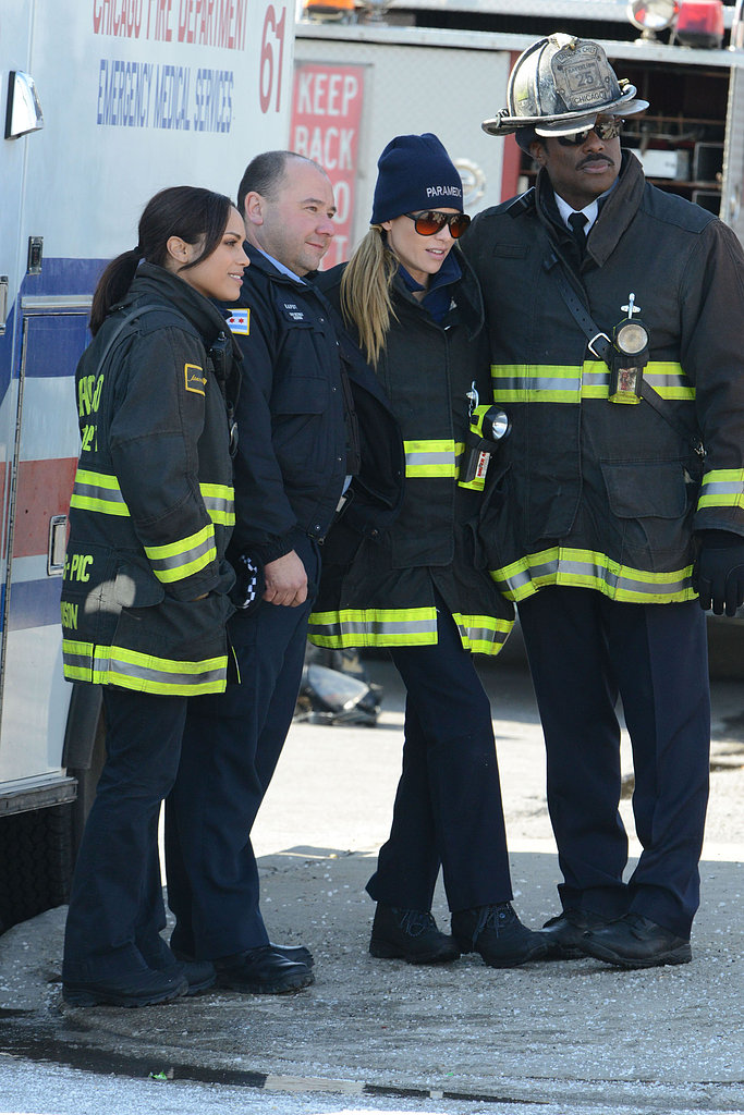 Chicago Fire's Eamonn Walker, Lauren German, and Monica Raymund hung out on the set of their show in Chicago on Wednesday.