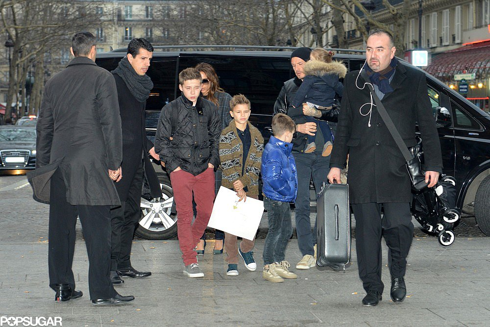 Victoria Beckham and David Beckham spent a few days in Paris with their kids: Romeo, Cruz, Harper, and Brooklyn. It was an exciting week in which Cruz turned 8 and David prepped for his debut with Paris Saint-Germain, which is in a match this Sunday.