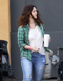 Drew Barrymore carried a beverage in Santa Monica.