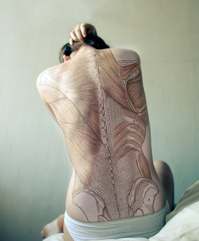 So this isn't a real tattoo, says photographer Diana Eastman, but, rather, a manipulated self portrait. The back image is from Gray's Anatomy (no, not the TV show). We think it's only a matter of time before a devoted med student gets this incredible illustration inked. Do you dare? Source: Diana Eastman Photography
