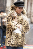 We adore the Kate Moss effect this cap and leopard-print coat had on this look.