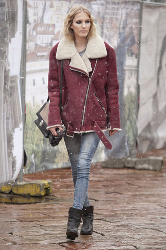 A shearling jacket was even more appealing in a gorgeous berry-hued finish.