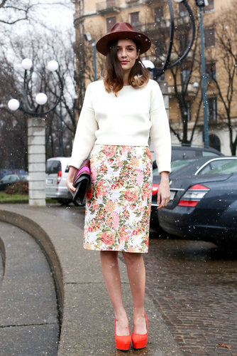 A pretty floral-print pencil skirt was a lovely touch in this eclectic mix.