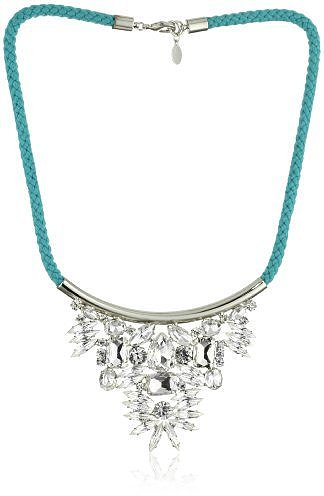 nOir &quot;Jaipur&quot; Turquoise-Color Silver Crystal Triangle Collar Necklace