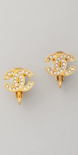 Wgaca Vintage Vintage Chanel CC Crystal Earrings