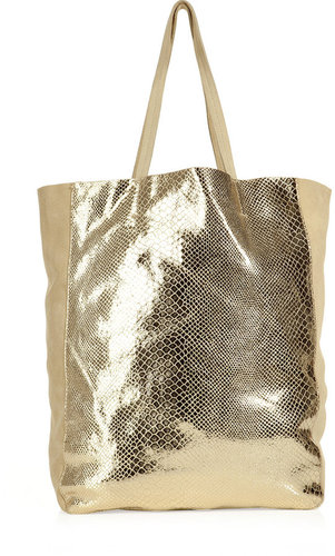 Sandro Beige with Gold Snake Print Bag