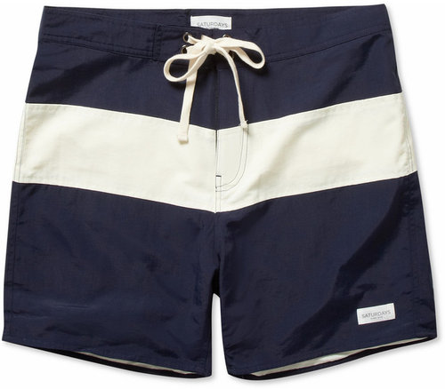 Saturdays Surf NYC Grant Mid-Length Striped Swim Shorts