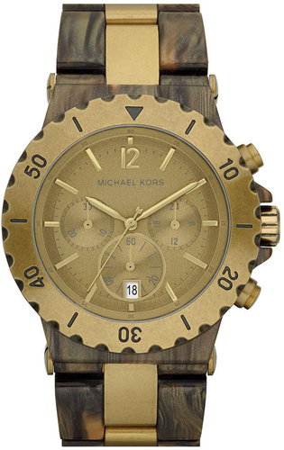 Michael Kors Two Tone Resin Chronograph Watch