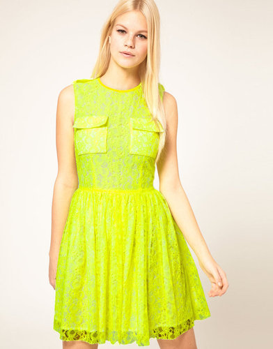 MSGM Sleeveless Lace Dress With Full Skirt