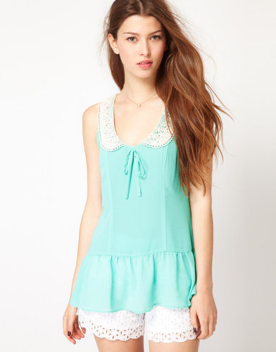 Max C London Max C Peplum Top With Lace Collar