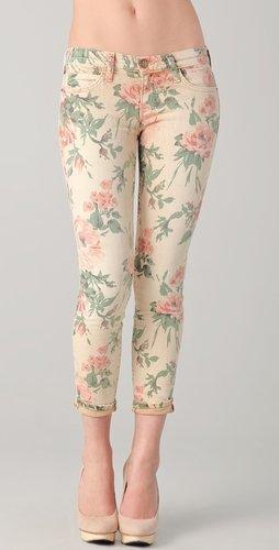 Current/elliott The Floral Stiletto Jeans