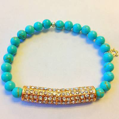 Elastic turquoise beads with rose gold crystal bar bracelet and small star of david charm