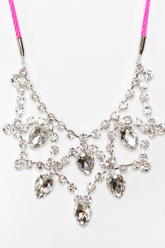 Rocks Paper Metal Tear-Drop Bib Necklace