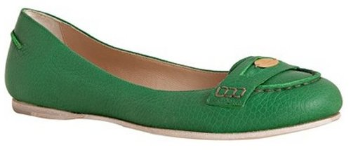 Fendi kelly green leather flat penny loafers