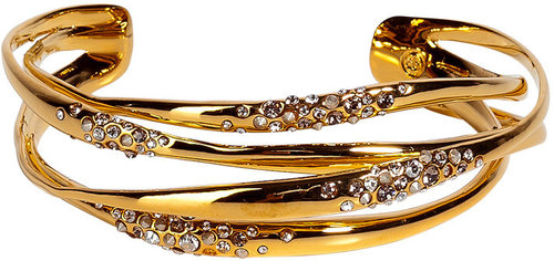 Alexis Bittar Gold orbiting cuff encrusted with crystals