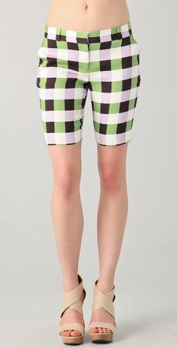 Diane Von Furstenberg New Boymuda Plaid Shorts