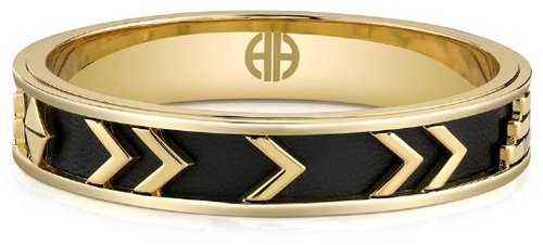 Aztec Bangle with Black Leather