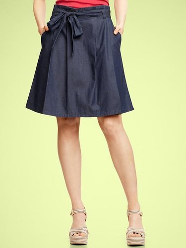 Denim pleated tie skirt
