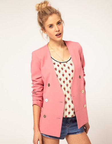 ASOS Double Breasted Blazer With Gold Buttons