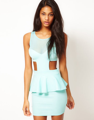 Oh My Love Jersey Peplum Dress With Mesh Detail