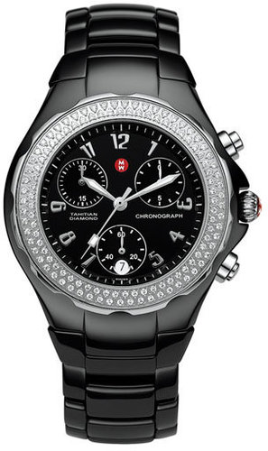MICHELE 'Tahitian' Large Ceramic Diamond Watch