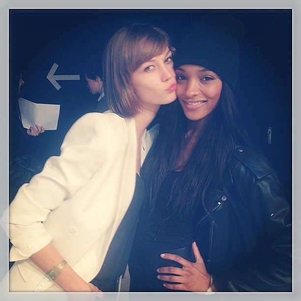 Karlie Kloss and Jourdan Dunn posed for their friend Cara (Delevingne, heard of her?) backstage at London Fashion Week. Source: Instagram user caradelevingne